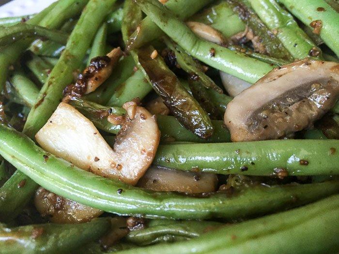 sauteed green beans, mushrooms, and garlic