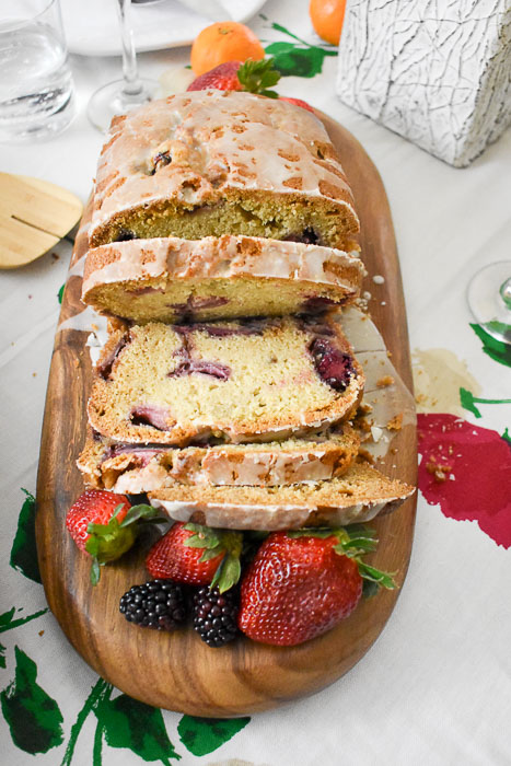 slices of lemon berry quick bread
