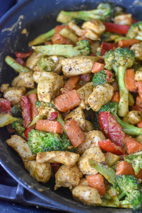 chicken and vegetable stir fry in special peanut butter sauce