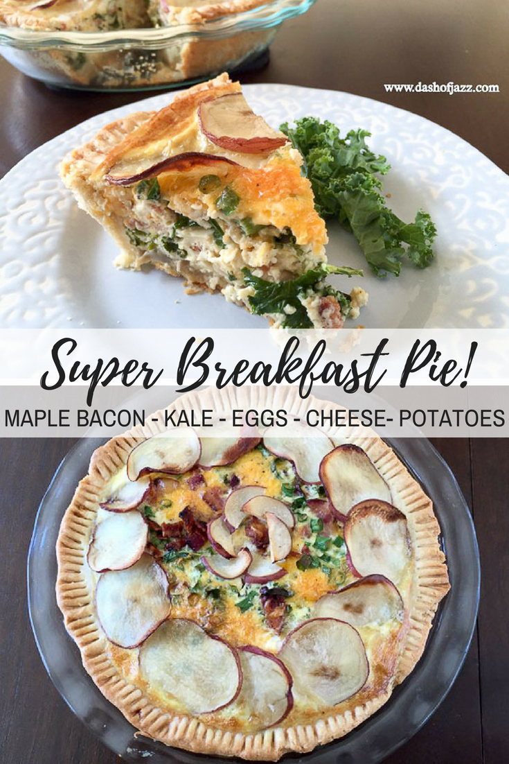 A next-level cross between a breakfast casserole and a quiche made with eggs, crumbled maple bacon, potatoes, cheese, and even hidden veggies--all in a buttery, flaky crust! Recipe by Dash of Jazz #brunch #breakfastcasserole #quiche