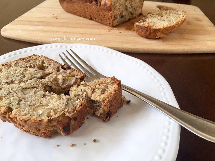 slice of spiced banana nut bread