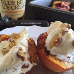 Brûlée Peaches with Blue Bell