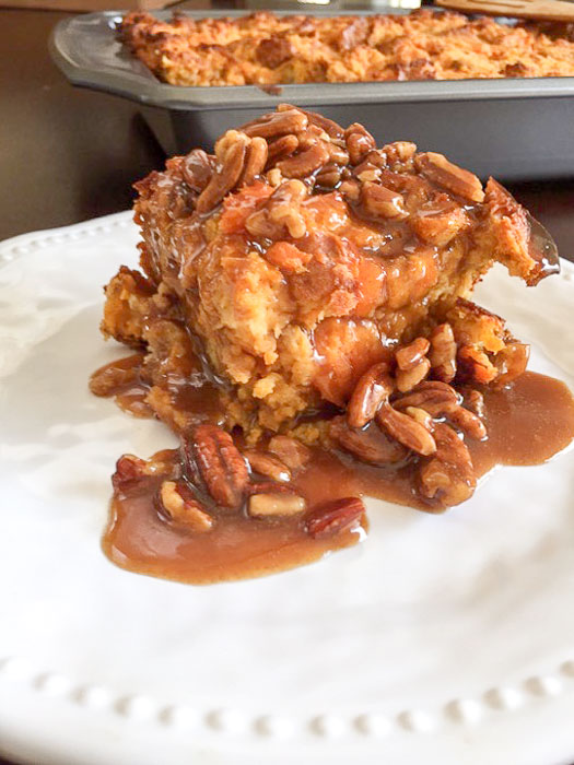 piece of sweet potato praline bread pudding