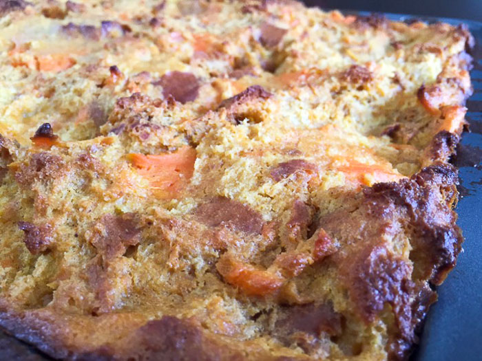 roasted sweet potato pieces in bread pudding