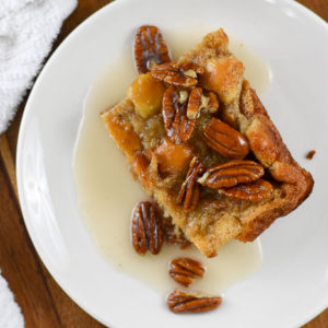 Cinnamon Roll Bread Pudding with Icing Glaze
