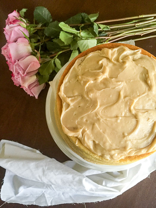 Get the recipe for this delicious Brown Butter Vanilla Birthday Cake with Salted Caramel Frosting by Dash of Jazz