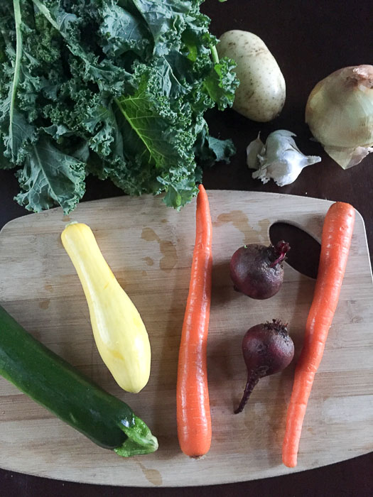 autumn vegetables on cutting board