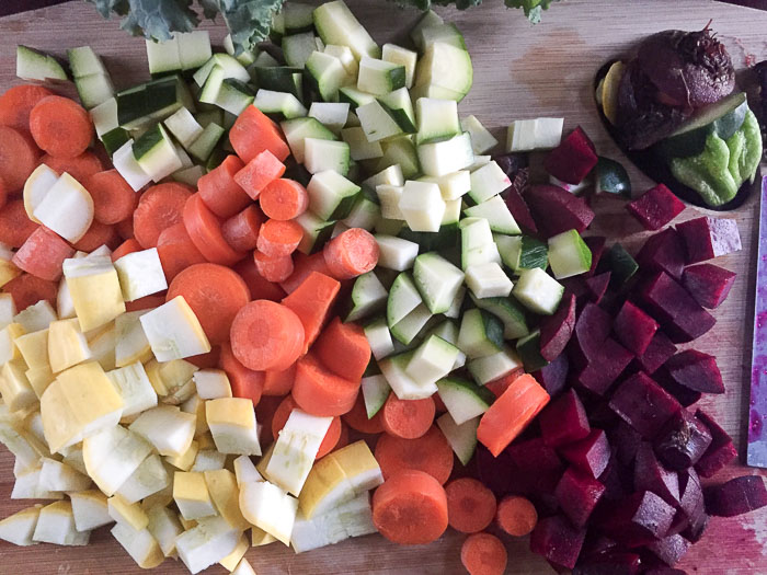 chopped carrot, squash, and beet