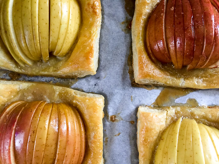 easy apple tarts made on puff pastry