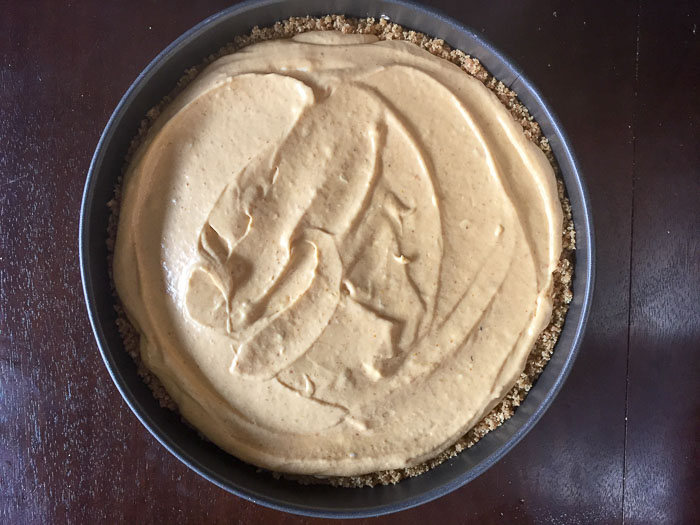 unbaked pumpkin cheesecake