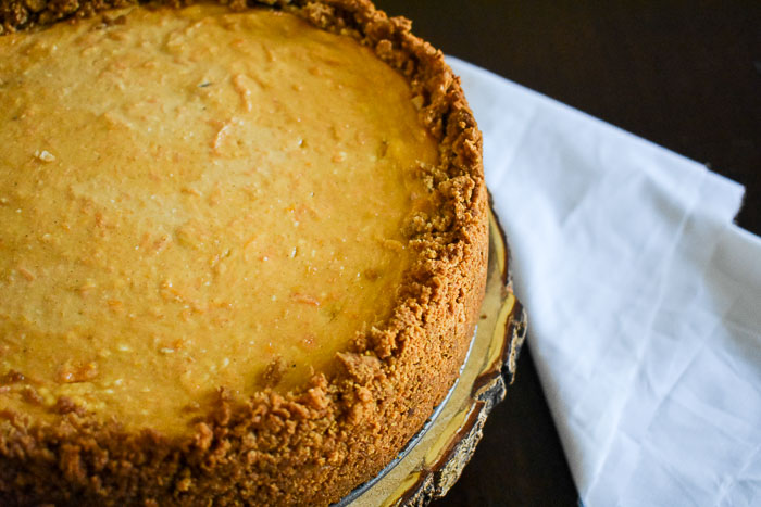 Sweet Potato Cheesecake made from scratch and perfect for the Fall and Thanksgiving holiday table! Recipe by Dash of Jazz