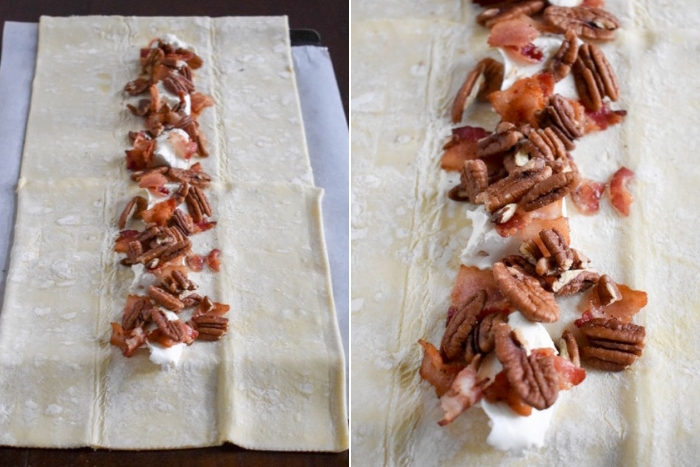 puff pastry filled with bacon, pecans, and cream cheese