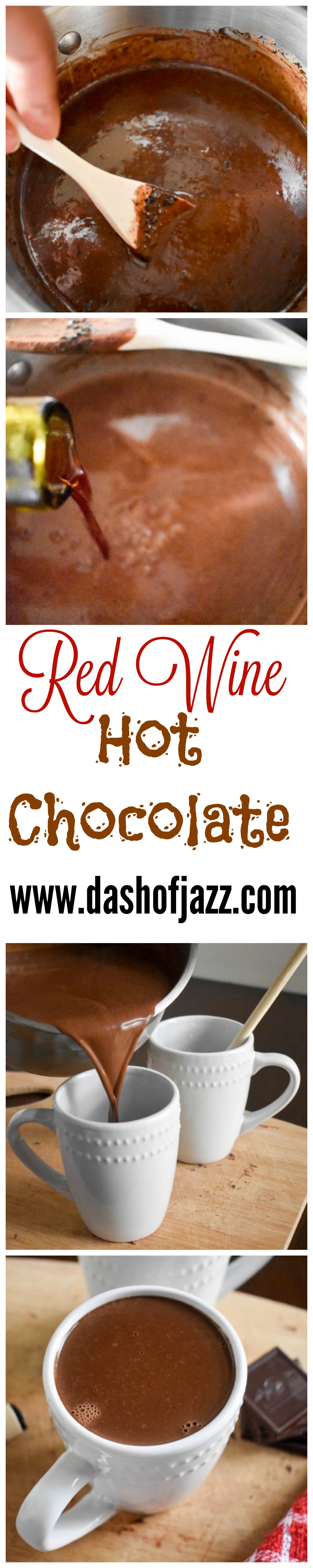 Red wine hot chocolate is the perfect indulgent adult beverage for the Fall and Winter! This decadent recipe is made with a fruity red and dark chocolate. by Dash of Jazz