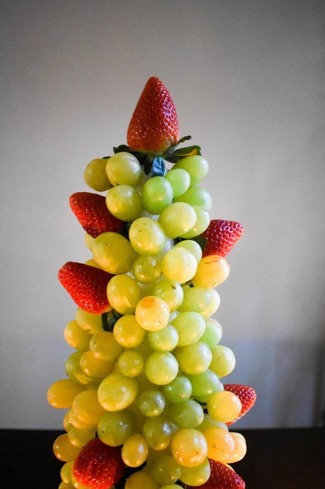 top of festive fruit centerpiece