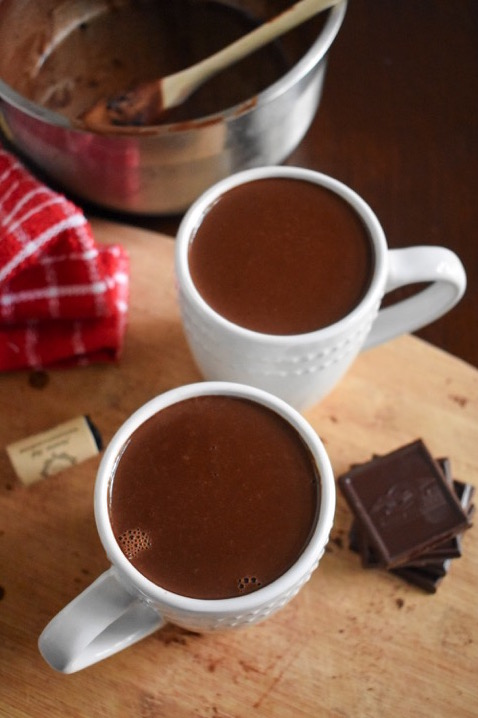 Red Wine Hot Chocolate is the perfect adult beverage for cuddling up with during the Fall and Winter! Make this recipe by Dash of Jazz with a fruity red wine and dark chocolate