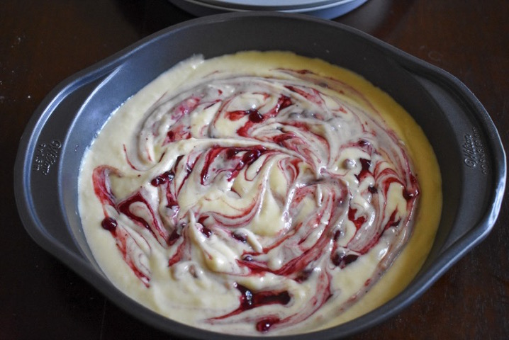 vanilla cake batter swirled with lingonberry jam