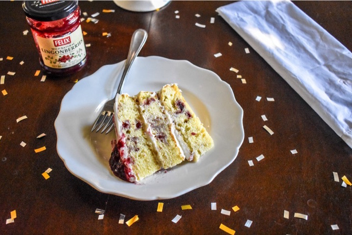 Easy vanilla cake swirled with lingonberry jam, 3 lessons learned as a blogger, and a discount code to Mary's Secret Ingredient. Berry Swirl Cake by Dash of Jazz