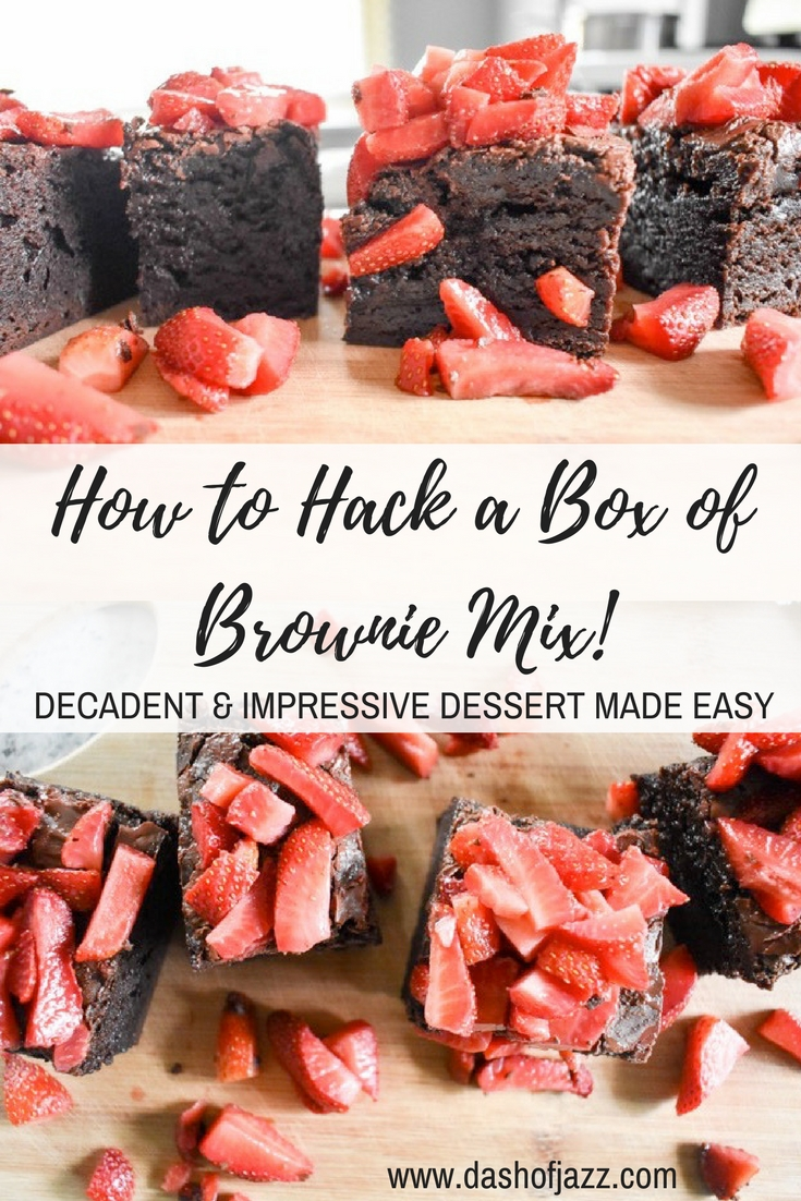 With these three easy tricks to hack a box of brownie mix into an impressive and indulgent dessert, no one will ever suspect your batch wasn\'t made from scratch! Recipe by Dash of Jazz