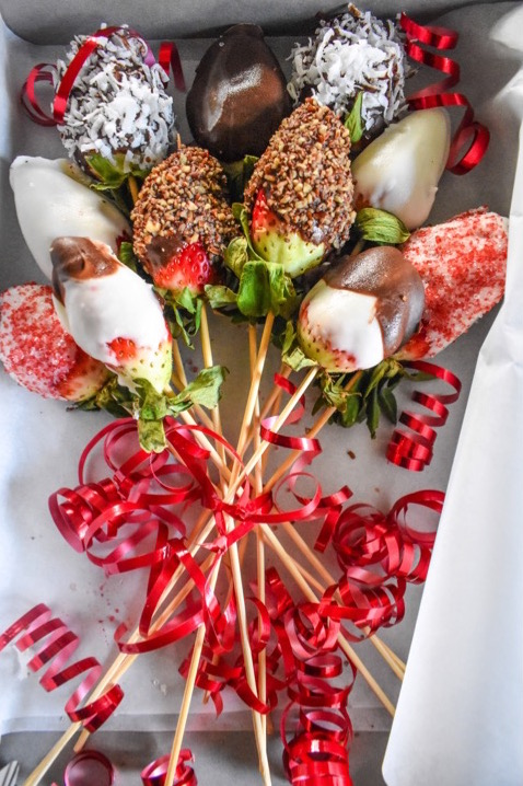 box of homemade chocolate covered strawberry arrangement