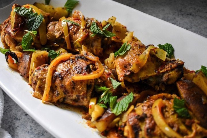 An easy slow cooker Moroccan chicken meal that is naturally gluten-free and Whole 30 compliant plus full of rich North African flavors. Recipe by Dash of Jazz