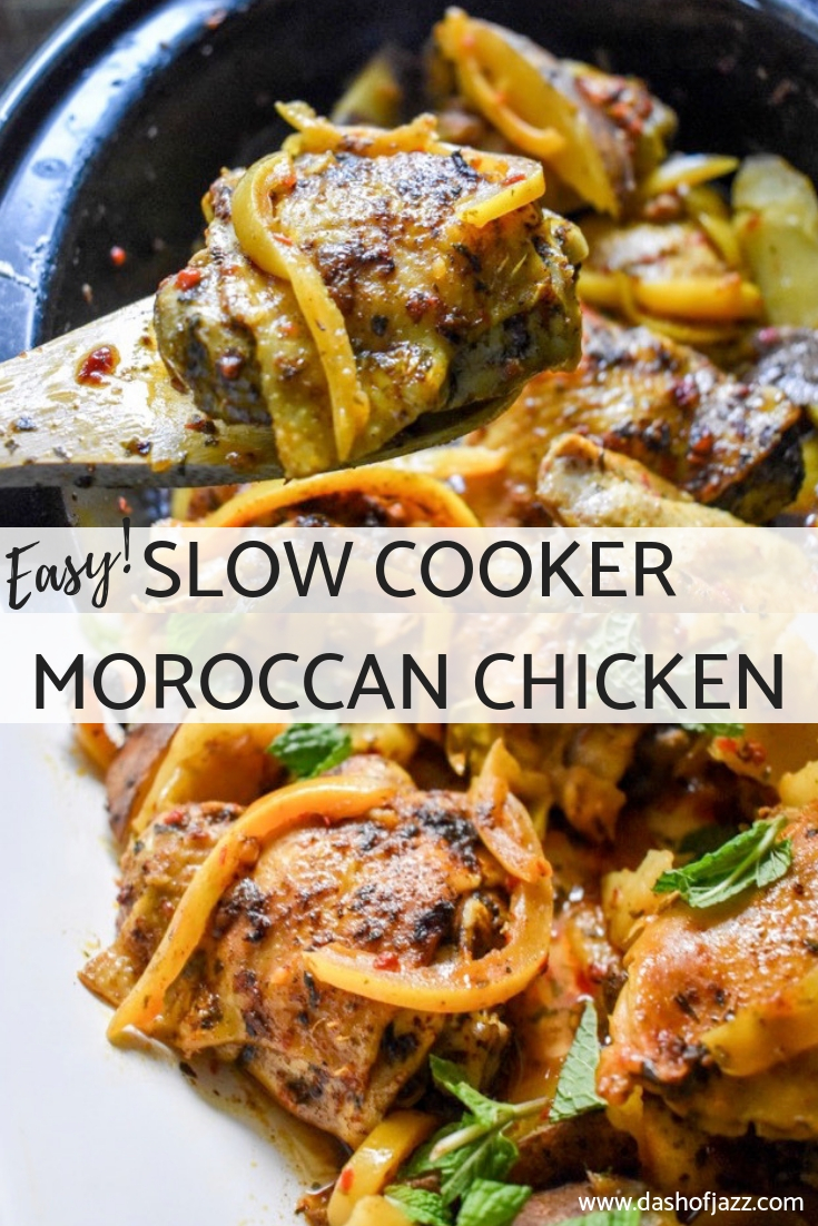 An easy slow cooker Moroccan chicken meal that is naturally gluten-free and Whole 30 compliant plus full of rich North African flavors Recipe by Dash of Jazz #chickentagine #slowcookerrecipes