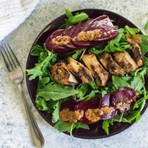 Grilled Sesame Chicken with Beets & Arugula