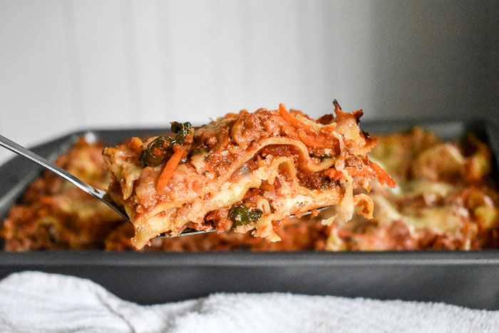 A lightened-up lasagna that tastes just like the one mom used to make--but with good-for-you, grown up ingredients by Dash of Jazz