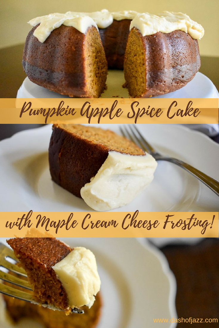 This unbelievably moist and flavorful pumpkin apple spice cake with from-scratch maple cream cheese frosting is perfect for the holiday season. Get the fall cake recipe here from Dash of Jazz! #dashofjazzblog #pumpkinspicecake #spicecakerecipes #spicecakemixandpumpkin #pumpkincake #falldessert #maplecreamcheesefrosting #bundtcake