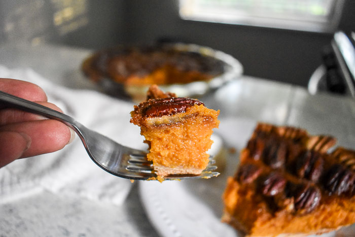 bite of bourbon sweet potato pecan pie on a fork