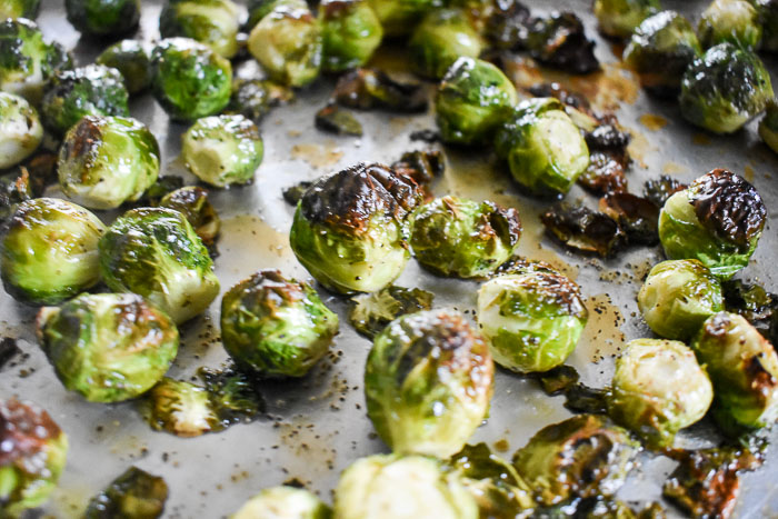 maple roasted brussels sprouts on sheet pan
