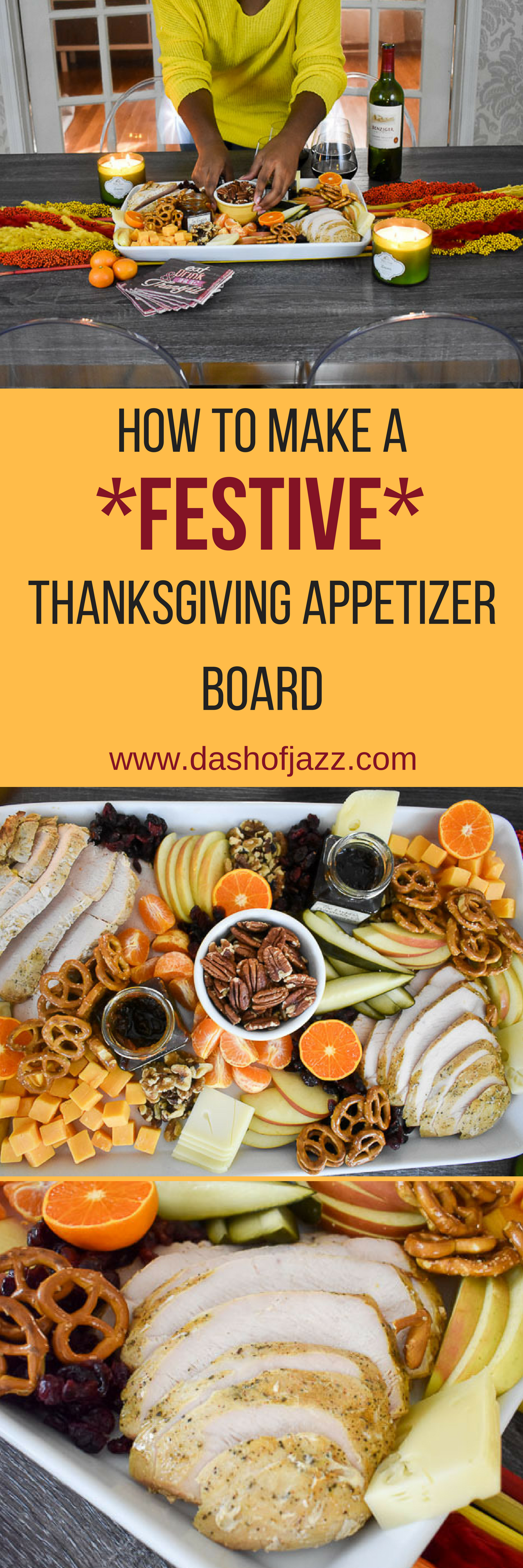 Because dinner is never ready on time. Make an easy, festive Thanksgiving appetizer board to keep guests happy (and out of the kitchen) until the feast .Tutorial and inspiration by Dash of Jazz