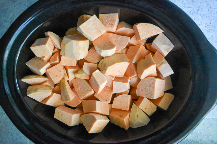 sweet potato chunks in slow cooker