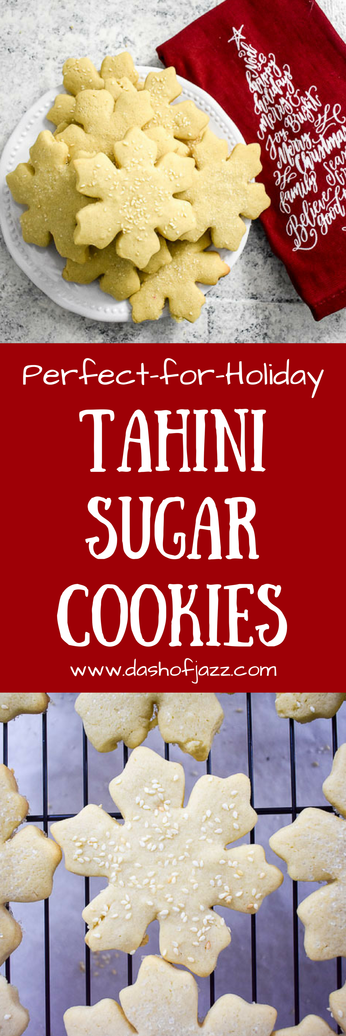 Uniquely-flavored tahini sugar cookies are perfect for the holidays or any time of year. Cut them out in your favorite shapes and enjoy the toasty tahini flavor that balances out the classic sugar cookie flavor. Recipe by Dash of Jazz #Christmascookierecipes #dashofjazzblog