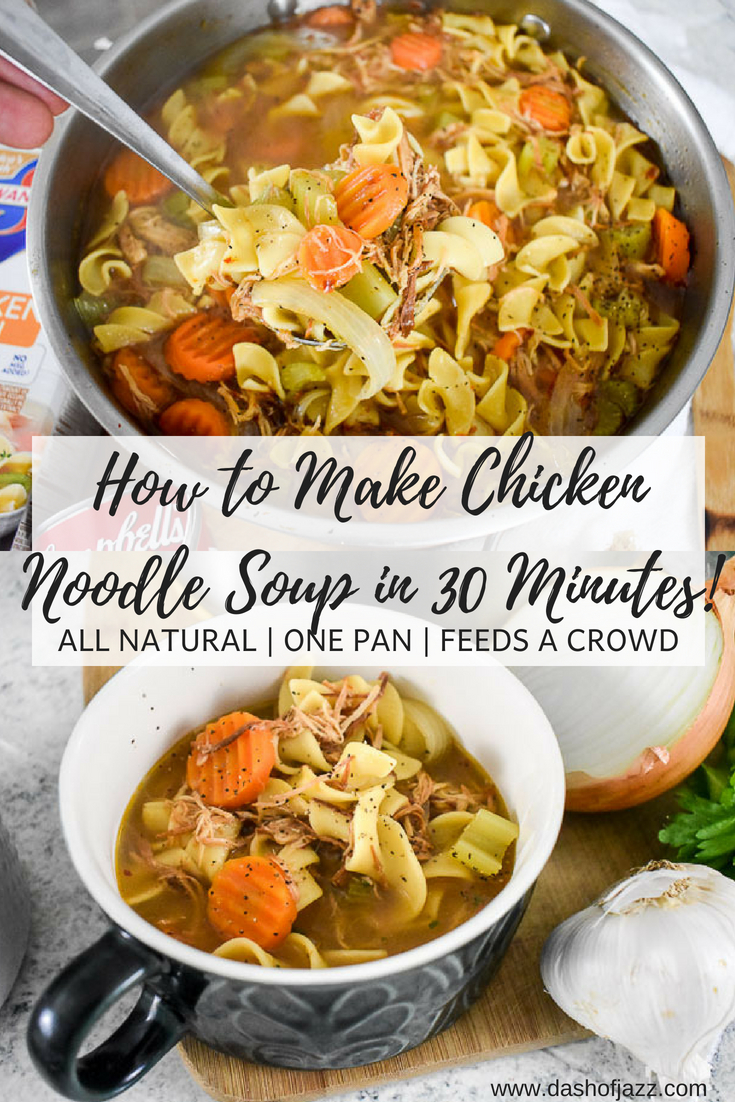This 30-minute chicken noodle soup is made with all-natural ingredients in one pot and feeds a crowd! Perfect for cool weather, cozy gathering, or combating colds. Recipe by Dash of Jazz #easysouprecipe #30minutemeal #onepotmeal #onepotpastadinner #quickdinnerrecipe #chickensoupfromscratch #homemadechickennoodlesoup #howtomakechickennoodlesoup