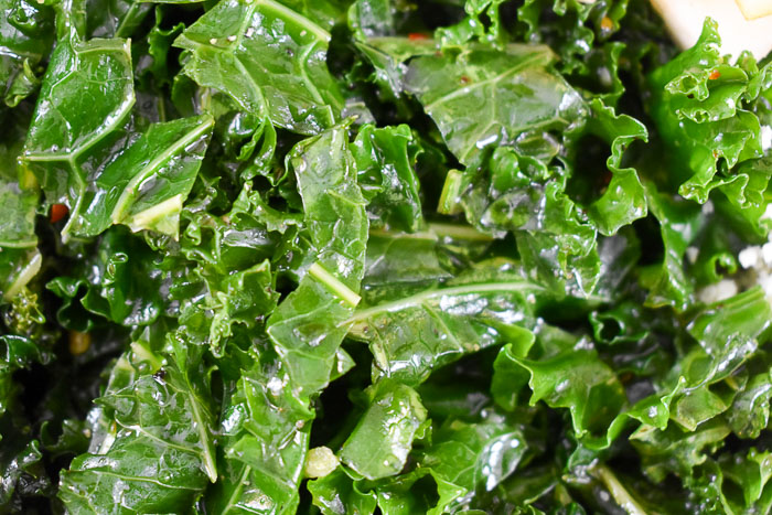 massaged chopped kale in dressing