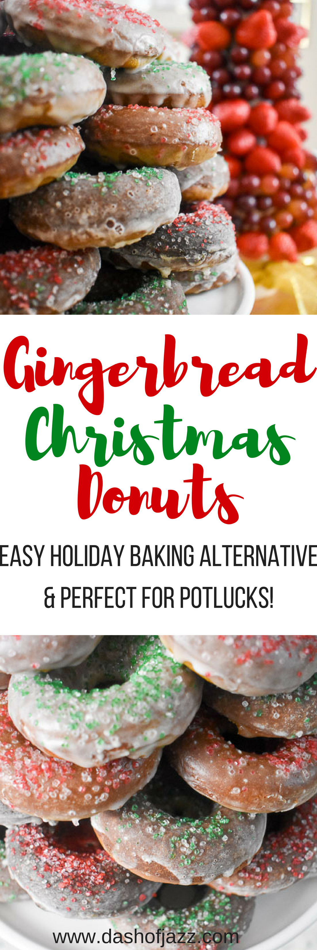 Make these gingerbread Christmas donuts for an easy and unique holiday dessert this season. Recipe by Dash of Jazz