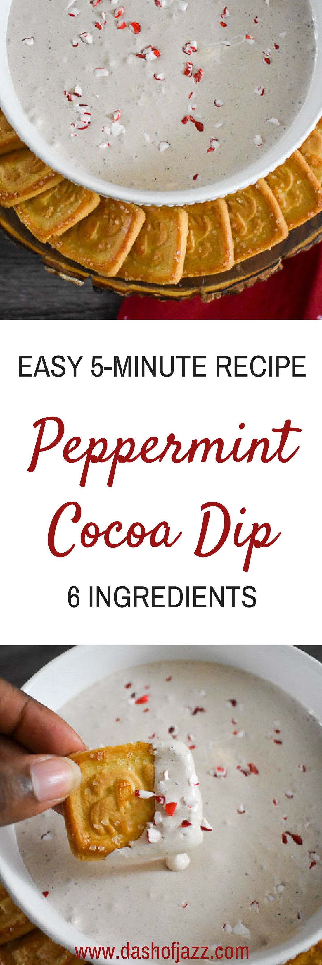 An easy, six-ingredient peppermint cocoa dip recipe perfect for the holidays! Recipe by Dash of Jazz #MyItalianMoment #ad #appetizer #ChristmasRecipe
