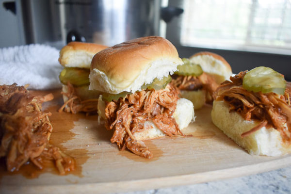 Slow Cooker Pulled BBQ Chicken Sliders