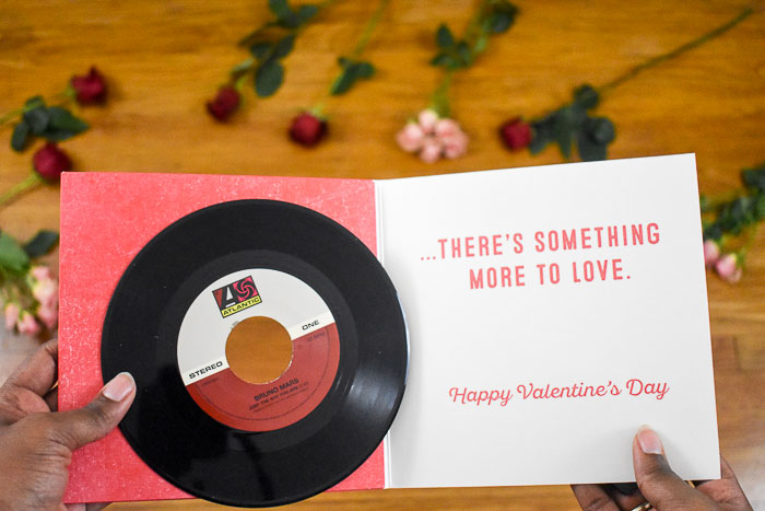 Hallmark Vinyl card with Bruno Mars songs