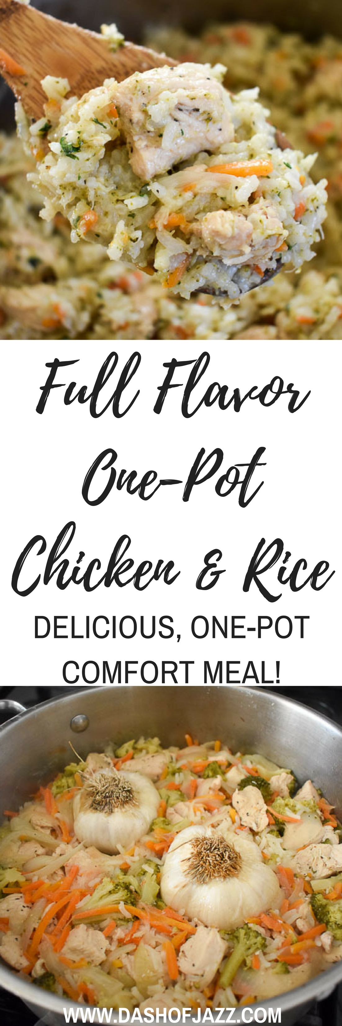 Look to this delicious, creamy one-pot chicken & rice dish when you want comfort food that\'s full of flavor and fun to make! Recipe by Dash of Jazz