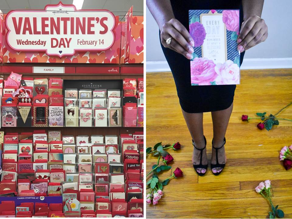 Hallmark Valentine's Day cards in store and a single card closeup