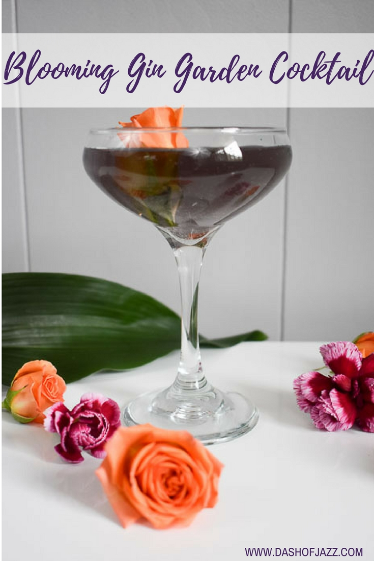 The blooming gin garden cocktail is a reimagined classic with a fully floral palette of rose, hibiscus, violet, and elderflower. Easy recipe by Dash of Jazz