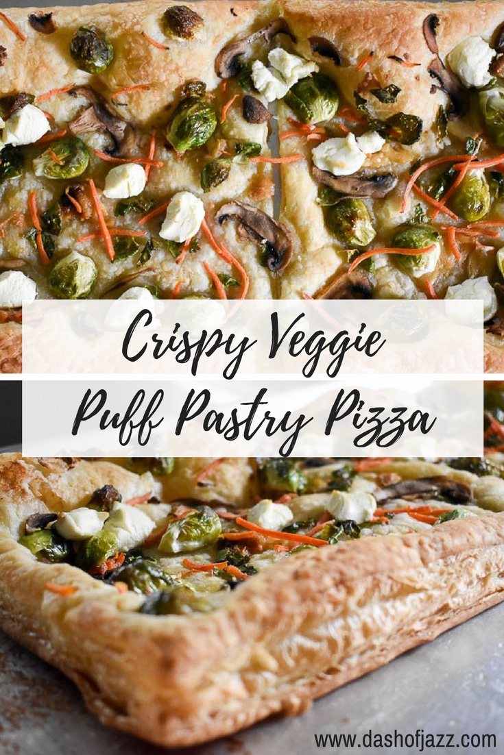 This crispy veggie puff pastry pizza is easy, delicious, and ideal for any meal of the day. Make one in 30 minutes or less! Recipe by Dash of Jazz