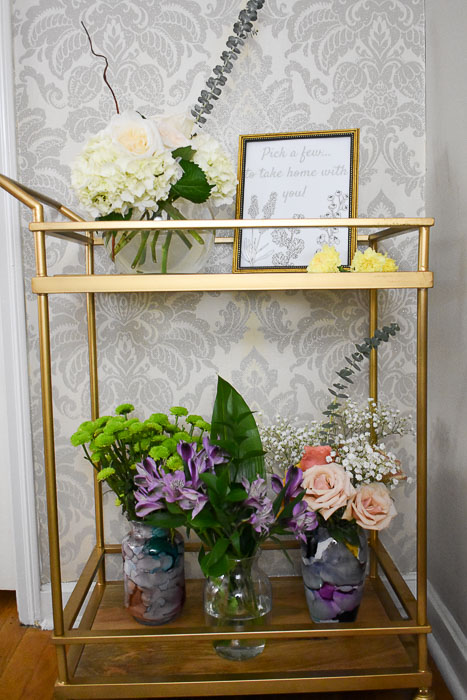DIY spring flower bar on a gold bar cart