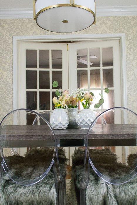 flower arrangements on dining table