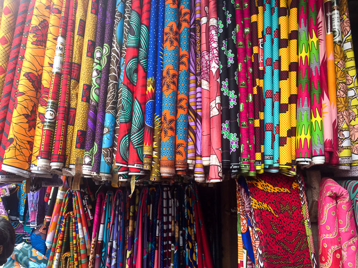 display of ankara fabric for sale in Balogun Market, Lagos, Nigeria