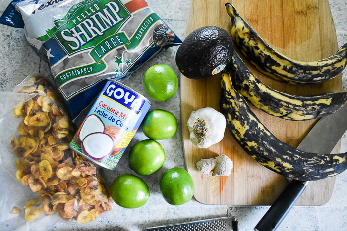 ingredients for coconut lime shrimp and fried plantain