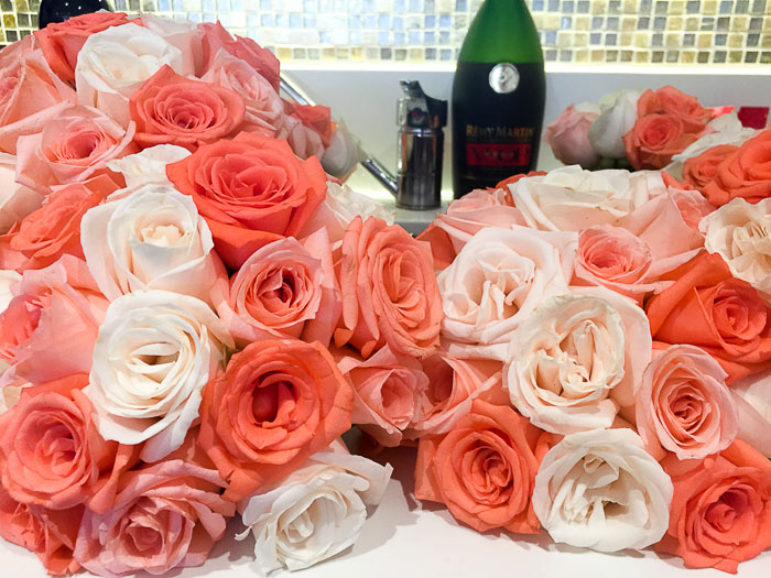 peach, pink, and white rose bouquets