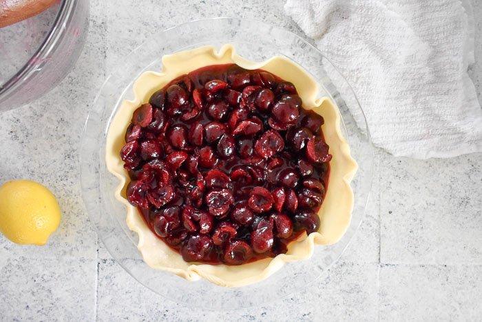 lemon ginger cherry pie filling in pie crust