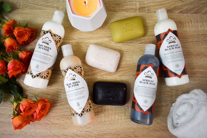 flat lay of Nubian Heritage body care products